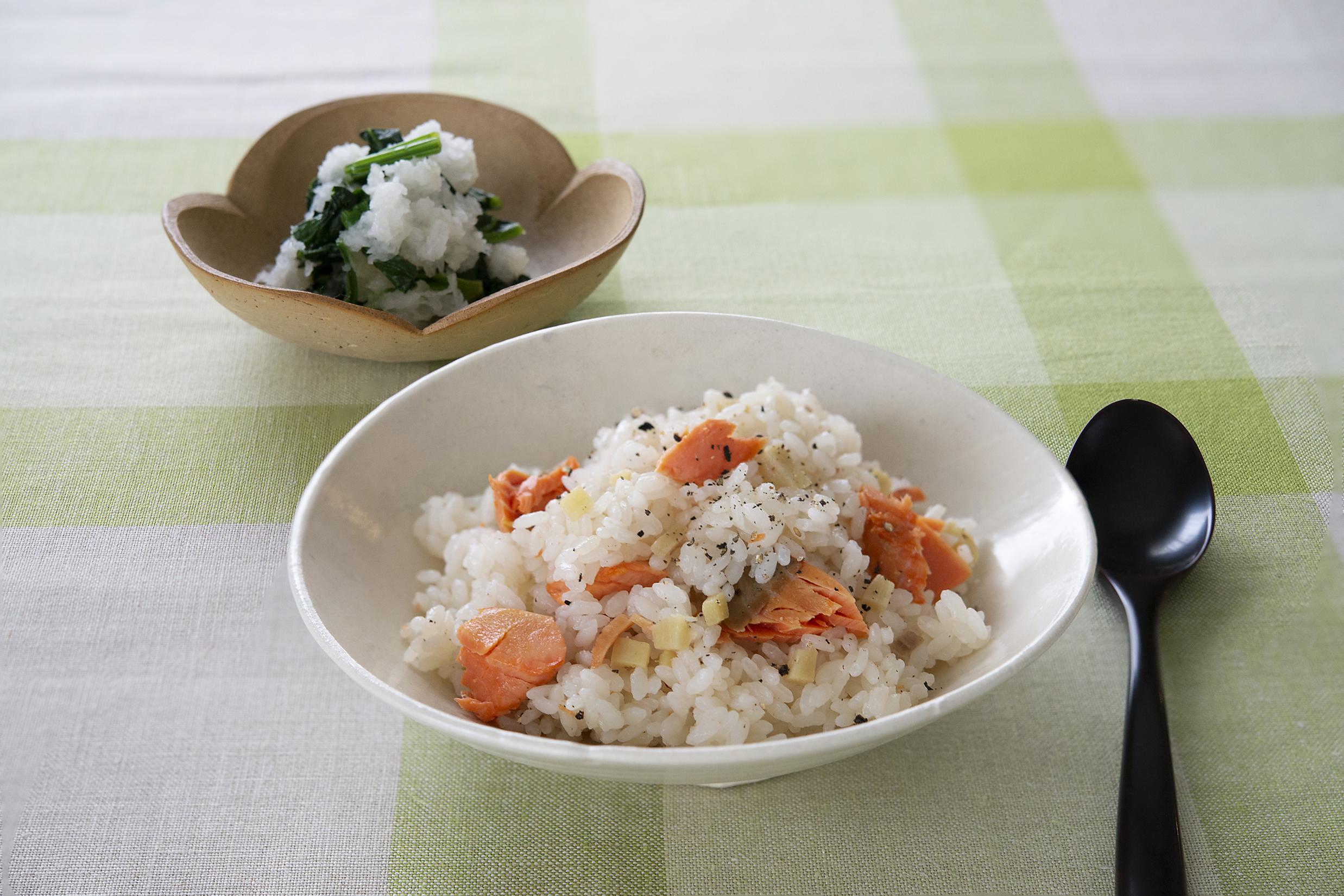 爽やかな香りの「生姜と鮭のピラフ」