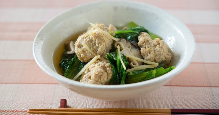 寒い冬に食べたい和風の肉団子「肉団子と小松菜、しいたけの煮びたし」