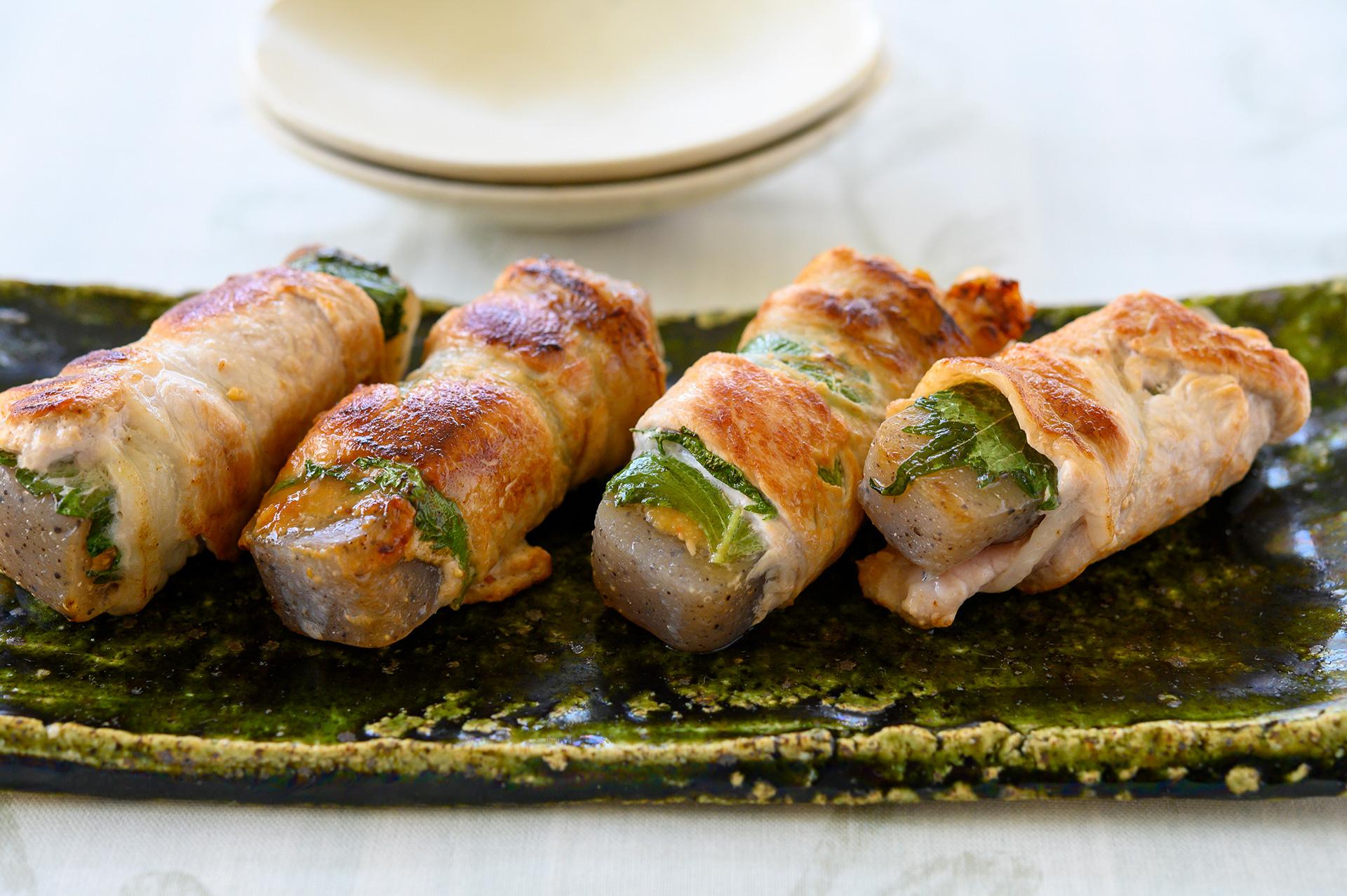 低カロリーで食べ応え抜群の「豚薄切り肉のこんにゃくロール」